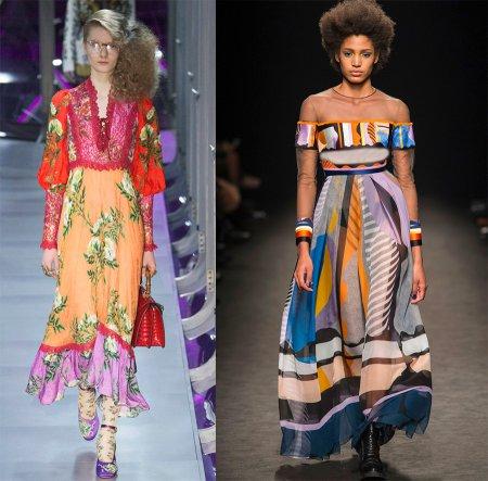 Модные яркие платья с принтом пэчворк – 2018