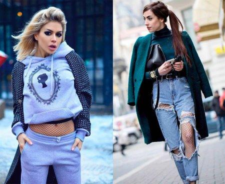 Чулки, колготки и носочки в сетку: с чем носить?