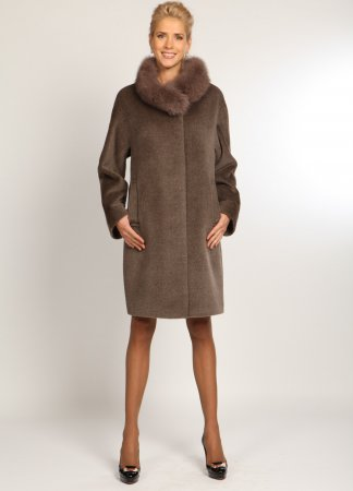 Зимние кашемировые пальто с меховым воротником