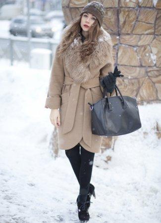 Модные зимние пальто с меховым воротником