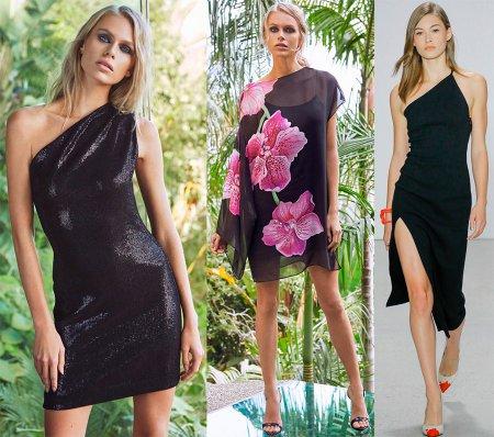 Модные платья на одно плечо и с одним рукавом – 2018